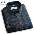 Langmeng 100% camisa a cuadros de algodón hombres de la marca de moda casual camisas slim fit camisa para hombre vestido de camisa masculina de manga larga