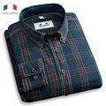Langmeng 100% camisa xadrez de algodão dos homens marca de moda camisas casual slim fit camisa de vestido dos homens camisa masculina de manga comprida