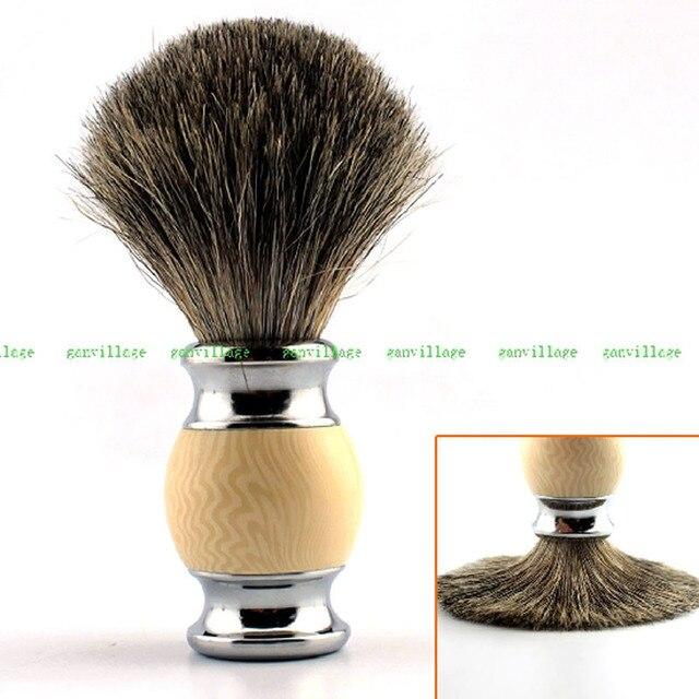 100% PURE Badger Hair Beard Brush For Men Shaving Mustache Brushes Imitation Ivory White Pincel De Barbear
