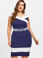 CharMma 2018 New Plus Size 5XL Work Dress Women Cap Sleeve Two Tone Off Shoulder Bodycon