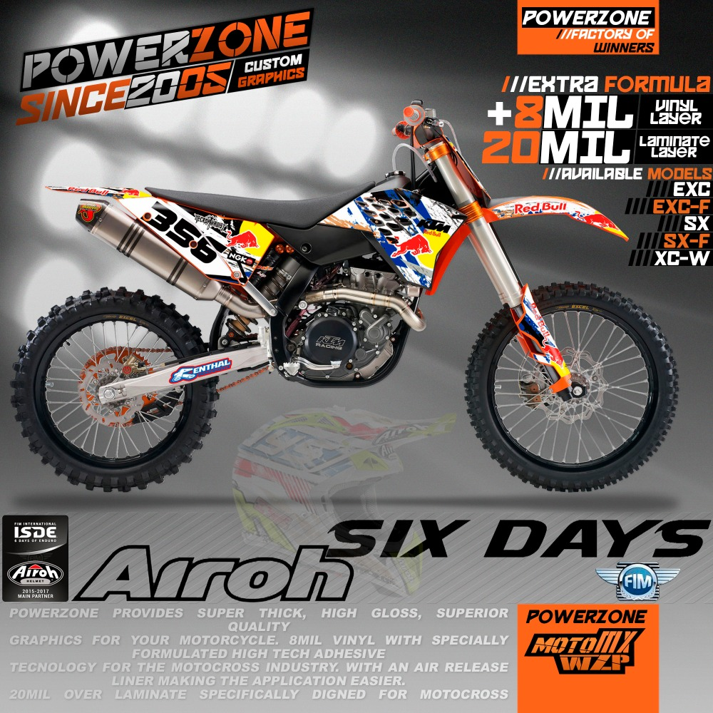 Custom Team Graphics Backgrounds Airoh 6 Six Days Decals Stickers Kits KTM SX SXF 2007-10 EXC 125 250 300 450 530 2008-11 - PowerZone Co.,Ltd store