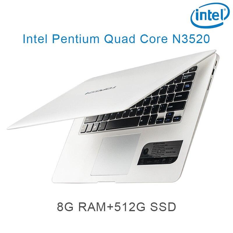 """זמינה עבור לבחור P1-05 לבן 8G RAM 512G SSD אינטל פנטיום 14"""" N3520 מקלדת מחברת מחשב ניידת ושפת OS זמינה עבור לבחור (1)"""