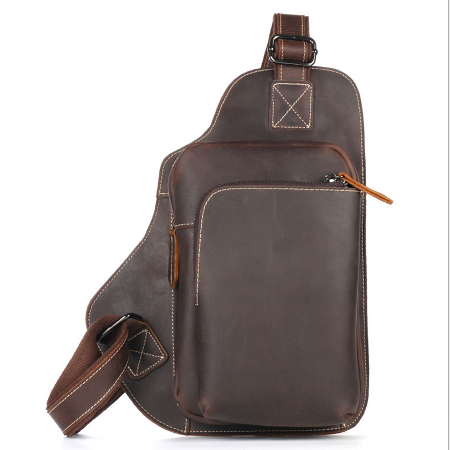 New Men Genuine Leather Sling Chest Back Pack Cross Body Bag 100% Crazy Horse Cowhide Vintage Travel Male Messenger Bags