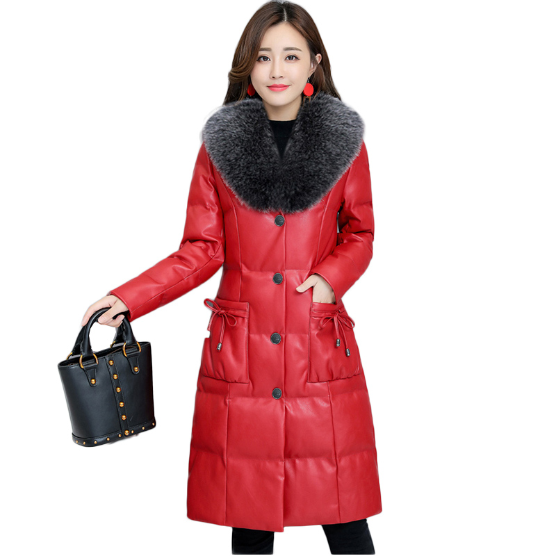 PU skin Winter Jacket Women Duck   Down     Coat   2018 New Warm Parka Female Long   Down   Jacket Elegant Fur collar Hooded outerwear NW969