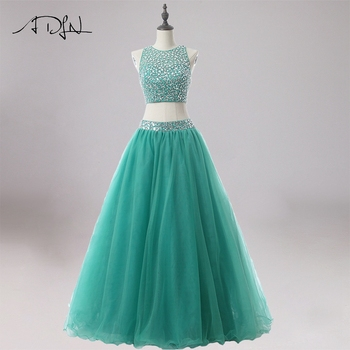 2a2e7a04f ADLN Sexy lujo rebordear dos piezas Quinceanera Vestidos Debutante vestido  verde Tulle dulce 16 Vestidos De 15 Anos partido vestidos