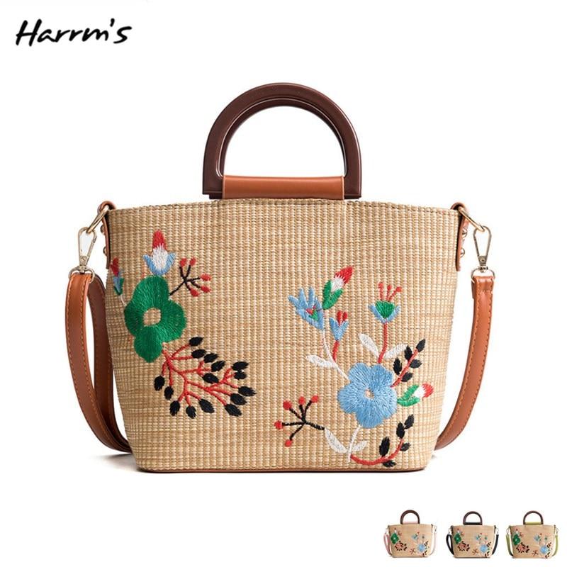 2018 New Chinese Embroidery Sesign Beach Bag Travel Handmade Straw Bag Casual Holiday Crossbody Bag Handbags Messenger Best Gift
