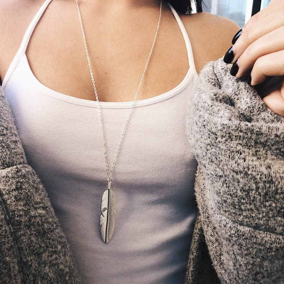 New Classic Stainless Steel Feather Pendant Necklace Never Fade Color Female Pendant Necklace Wedding Jewelry