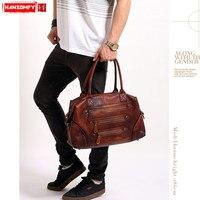 HANSOMFY из натуральной кожи мужские сумки мужская повседневная сумка Ретро Бизнес Мужчины 15