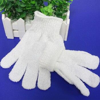 100pcs white Peeling Glove  Five Fingers Exfoliating Tan Removal Bath Mitts Paddy Soft Fiber Massage Bath Glove Cleaner