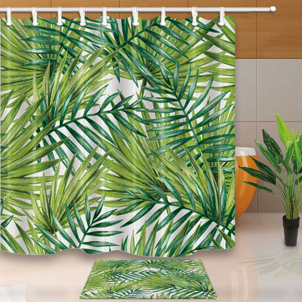 Creative Design Shower Curtains Green Leaves Black Dots Geometry On White Bathroom Polyester Waterproof With 12 Hooks In From Home