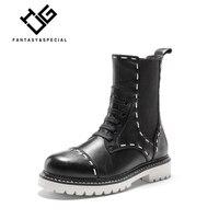 IGU martins/женские ботинки из натуральной кожи; зимние теплые короткие ботильоны; высокие мотоциклетные ботинки; Botas; Botines Mujer; 42, 43, 44