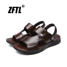 ZFTL New Men Sandals Man non-slip Cow leather beach sandals large size Slippers male casual leisure slippers 070