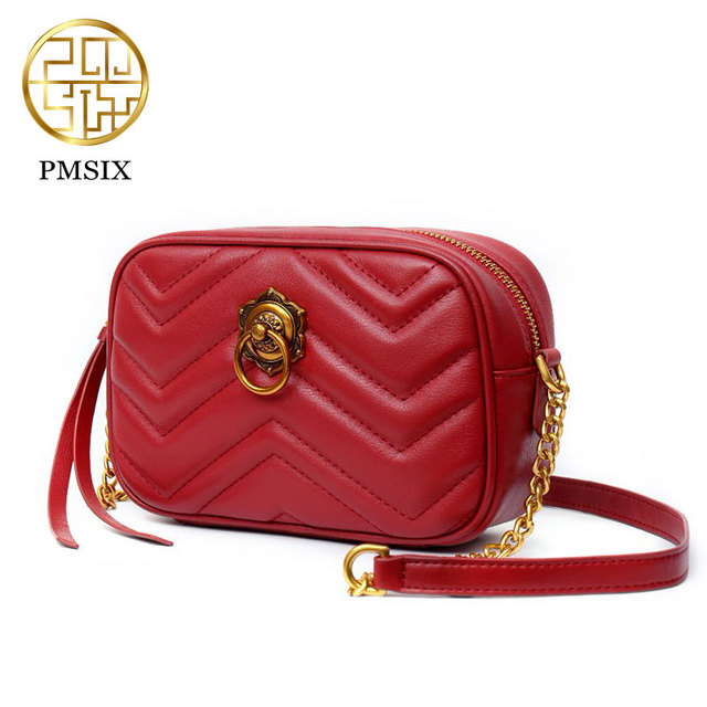 6a85d01ce3b6 Mini leather bag Women Chinese style crossbody bag Pmsix Brand Genuine  leather designer clutch bags fashion bags P210020