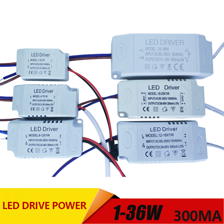 1-3W,4-7W,8-12W,12-18W,18-25W,25-36W LED driver power supply built-in constant current Lighting AC110-265V Output 300mA DC waterproof 12w led constant current source power supply driver 85 265v