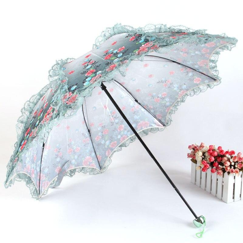 Dantel Jakarlı Şemsiye Uv Koruma Şemsiye Üç Katlanır Güneş - Ev Eşyaları - Fotoğraf 2