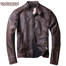 Maplesteed afligido jaqueta de couro do vintage dos homens jaquetas de couro vermelho marrom couro de bezerro motor motociclista casaco homem casaco de couro fino m104