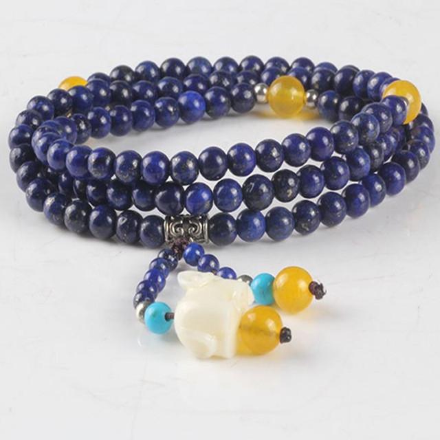Ubeauty 108 5mm naturales lapis lazuli beads elástico pulsera de Buda mala del rezo de mala para La Meditación de piedra azul collar de la joyería