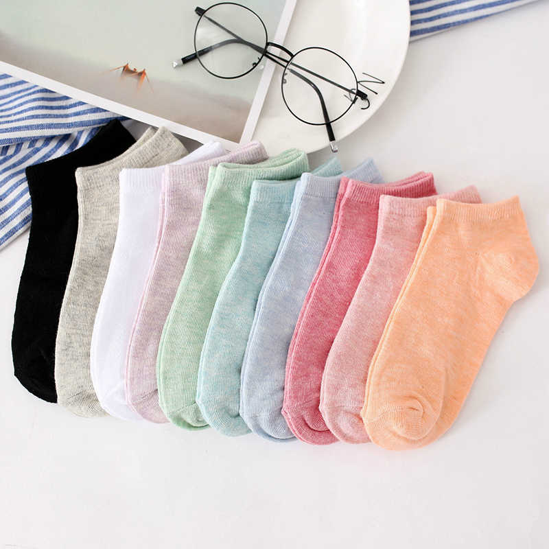 Yeni Moda Renkli Kadın Pamuk Kısa Çorap Giyim Aksesuarları Çizme Tekne Şeker Renk Çorap Sıcak Katı Basit 6A0895