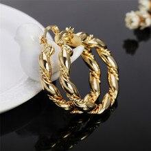 Новая мода Преувеличение Стиль серьги для Для женщин популярность золотые украшения для Для женщин витой круглые серьги