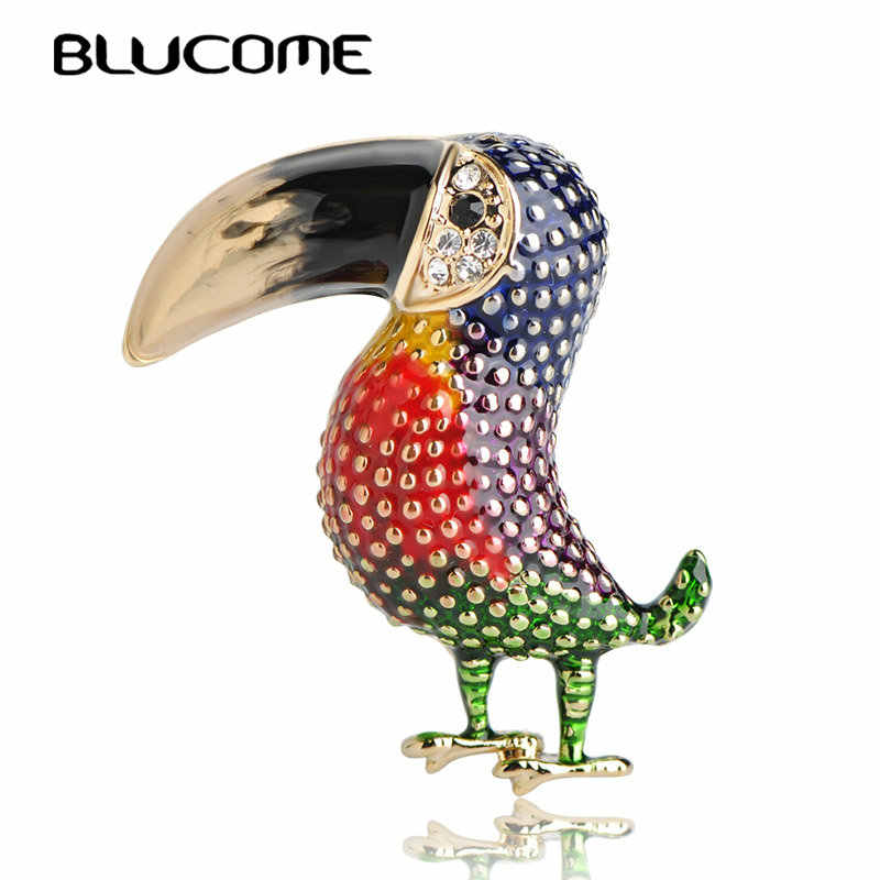 Blucome New Arrival Enamel Red Bird Brooch Owl Woodpecker Brooches Women Kids Clothes Accessories Alloy Corsages Pins Jewelry