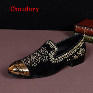 zobairou Italian Shoes toe gold dress shoes men loafers 2d52a27b39de