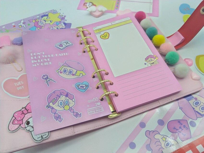 Macaron Harphia Vermelho Loose-leaf notebook A5 A6 6 Buraco planejador Diário