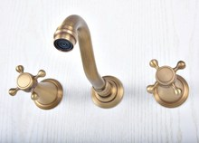 купить Antique Brass Widespread Wall-Mounted Tub 3 Holes Dual Cross Handles Kitchen Bathroom Tub Sink Basin Faucet Mixer Tap asf513 дешево