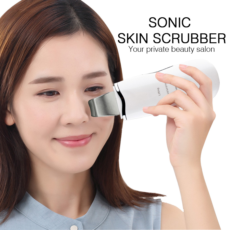 Ultrasound Skin Scrubber Ultrasonic Face Pore Cleaner Ion Spa Dirt Cleaning Beauty Device Facial Massager Face Lift Machine beurha face ultrasonic pore cleaner ultrasound therapy skin scrubber deep cleaning facial lifting therapy for spa face skin care