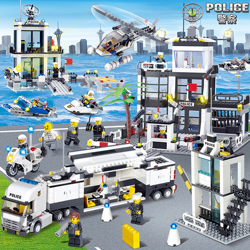City Police SWAT Helicopter Car Compatible LegoINGs DIY Building Blocks Sets Figures Creator Bricks Playmobil Toys for Children
