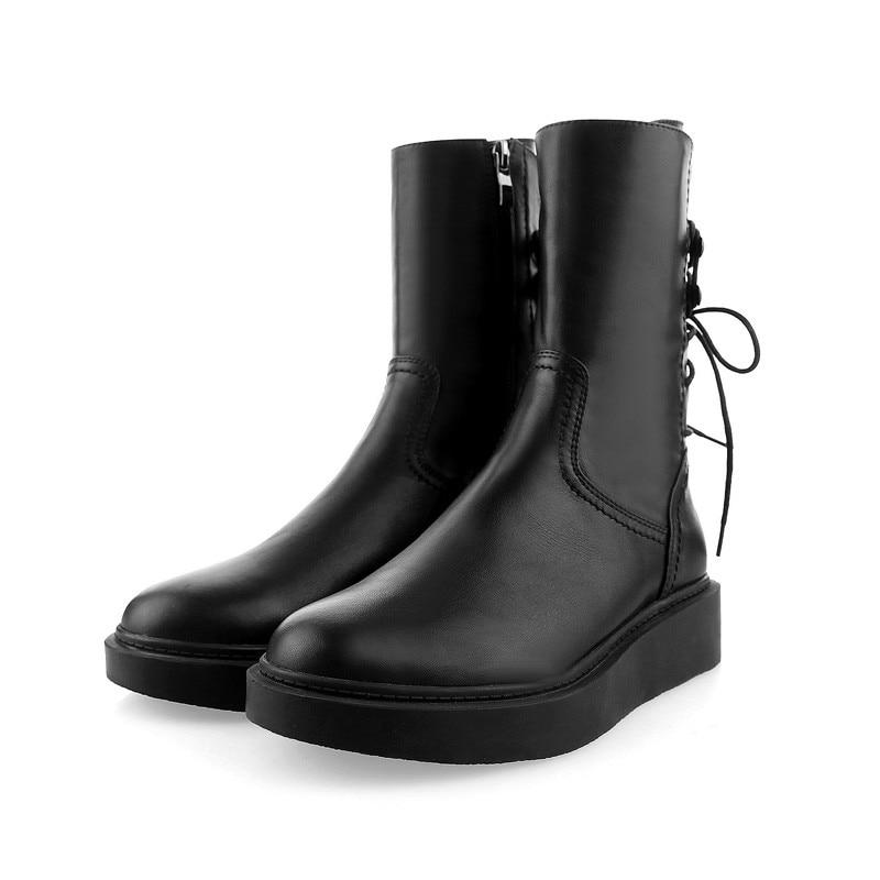 Avec Mid En Croix Hiver Automne Zip Bottes Black Cheville Boots Bout Cuir Plat black Calf Ankle Mode Rond Dames Smirnova Véritable Femmes Liée n7611z