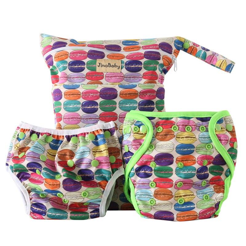 Macaron bambou bébé pantalons d'entraînement (couche de bambou + couche de bain lavable + sac à couches en tissu)
