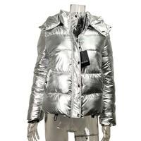 Women winter Bomber jackets Cotton padded coat Silver metal color Parka ladies Short zipper hooded down jacket warm Outwear 2018