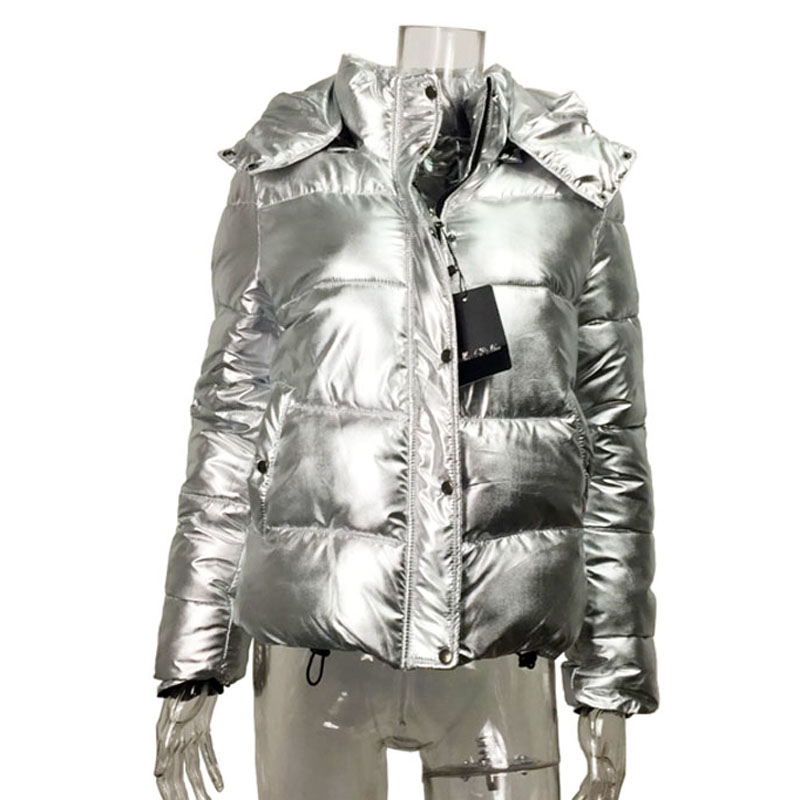 Women winter Bomber jackets Cotton padded coat Silver metal color Parka ladies Short zipper hooded down jacket warm Outwear 2018 winter jacket men warm coat mens casual hooded cotton jackets brand new handsome outwear padded parka plus size xxxl y1105 142f