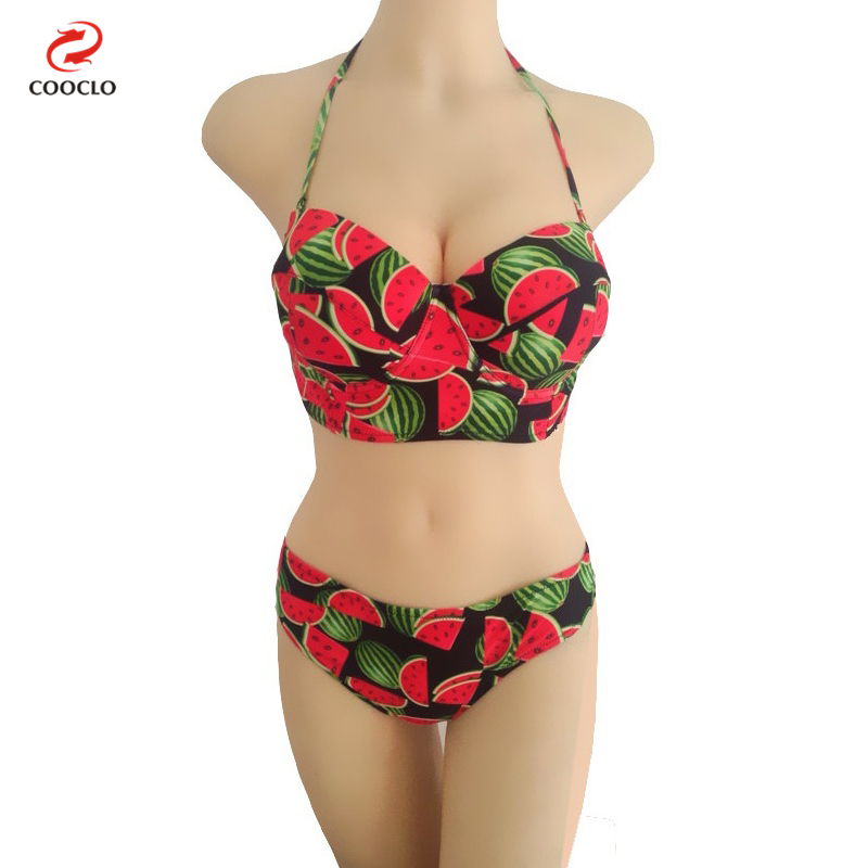 2016 Sexy Summer Watermelon Print Fruit Push Up Bikini Bandeau Top Biquini Swimsuit Bathing Suit For