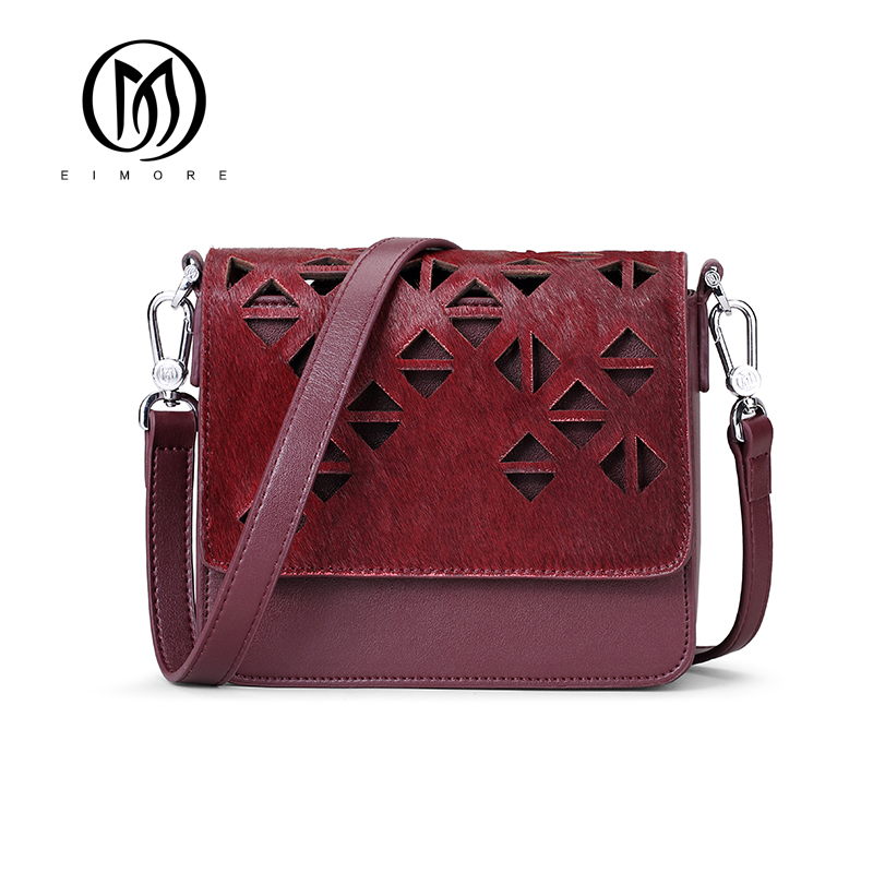 EIMORE 2017 Brand Women bags Feather Small Messenger Bag Genuine Leather Female Crossbody Bag Mini Fashion Hollow Out Women bag kxybz hollow out vintage women saddle crossbody bag fashion casual female small messenger bag ladies retro purses handbags k3013