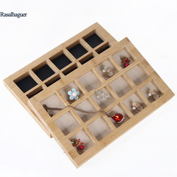 Fashion Bamboo 15 Grids Jewelry Display Tray Earrings Nexklaces Pendants Rings Jewelry Props Simple Jewelry Packaging sales