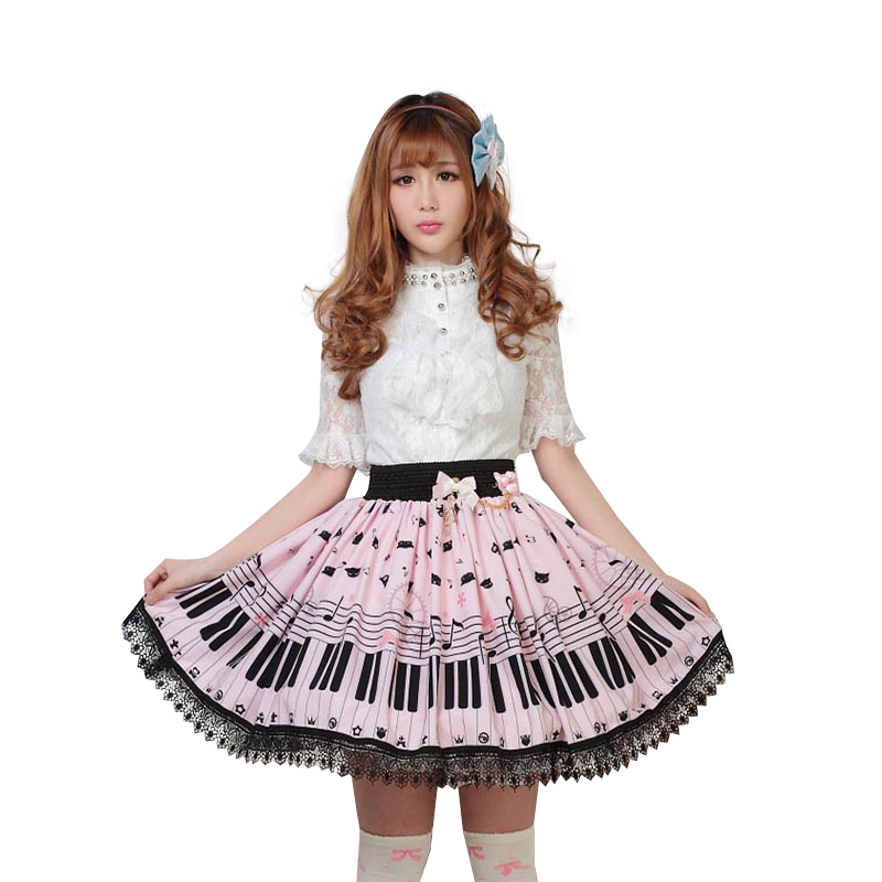 Image 2 - Sweet Lolita Short Skirt Cute Piano Key and Melody Printed Summer
