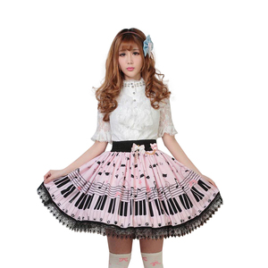 Image 2 - Sweet Lolita Short Skirt Cute Piano Key and Melody Printed Summer Skirt for Women