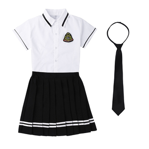 Image 3 - Korean Schoolgirl uniform White Top Black Skirt with Badge and Tie for Japanese Sailor Uniforms Student Cosplay Costume Suit