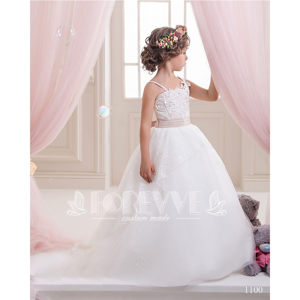 White Lace Crystal   Flower     Girl     Dresses   2019 Beaded Sashes Sheer Pageant Little   Girl   Mother Gown Tiered Ruffles   Flower     Girl     Dress