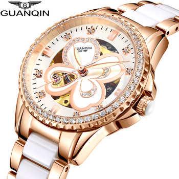 GUANQIN 2019 watch women Automatic Rhinestone Dress top brand luxury ceramics rose Mechanical watch waterproof bayan kol saati - DISCOUNT ITEM  48% OFF All Category