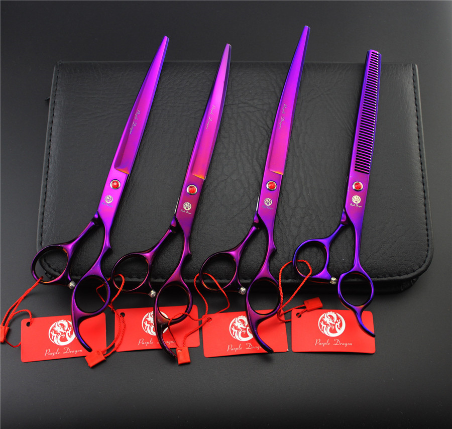 Brand Pet Grooming Scissors Set 8 Inch Professional Japan 440C Dog Shears Hair Cutting +Curved+ Thinning Scissors Purple 30 teeth thinning scissors thinning shears japan quaity 6 thinning scissors for hair salon s styling use