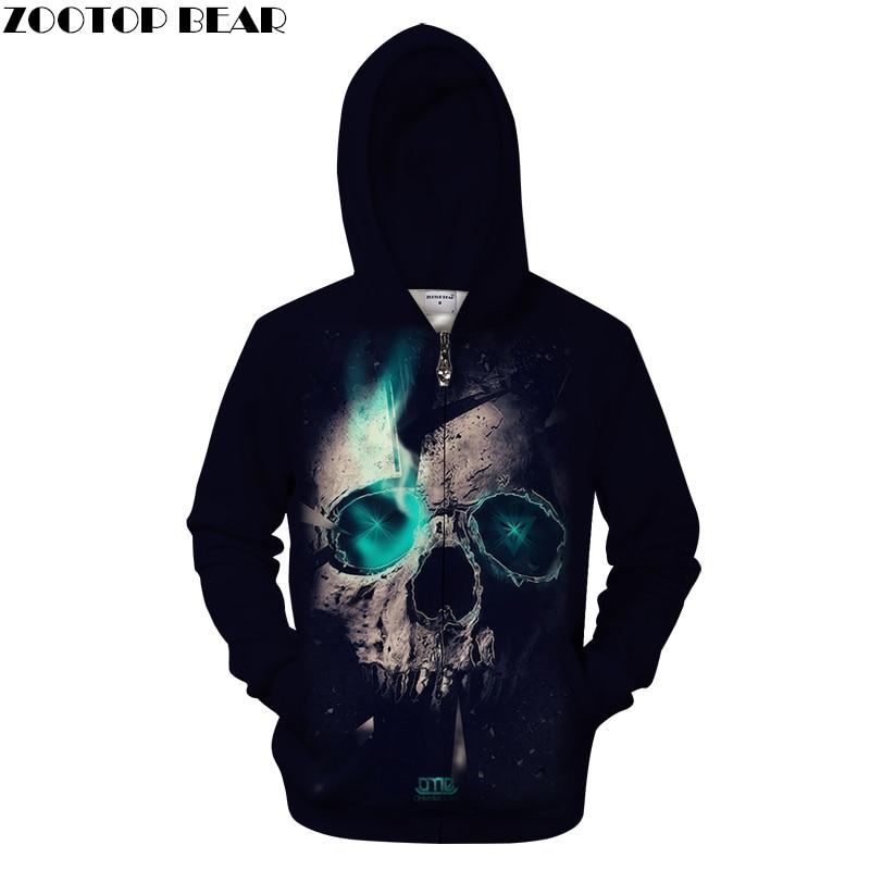 Blue Light Skull Hoodies Men 3D Zip Hoody Zipper Sweatshirts Harajuku Tracksuit Quality 6XL Hooded Pullover Drop ship ZOOTOPBEAR