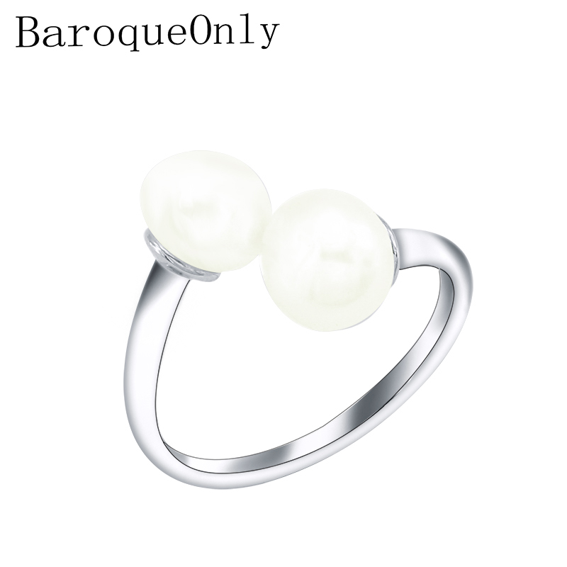 BaroqueOnly Pearl Ring Jewelry Silver Interlaced Rings