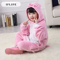Pijama Infantil Onesie Hooded Kids Animal Cartoon Pajama Pink Pig Children Boy Girl Unisex Pyjama