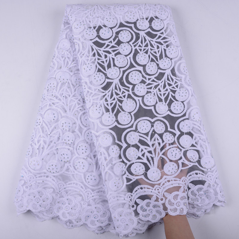 African Lace Fabric 2019 Embroidered Nigerian Stones Laces Fabric High Quality French Tulle Lace Fabric For Women A1396