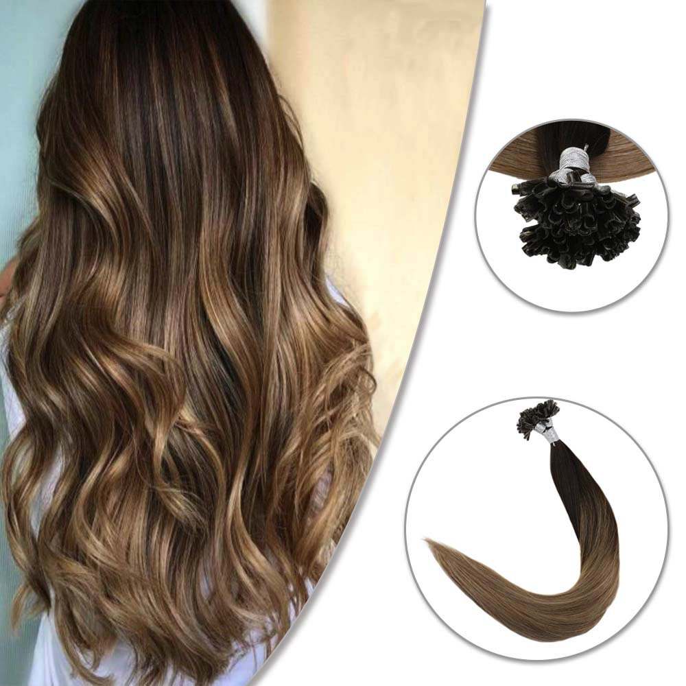 Full Shine 100% Remy U Tip Hair Extensions Color #2/6/18 1g/Strand 50g U Tip Hair Keratin Hair Nail Tip Hair