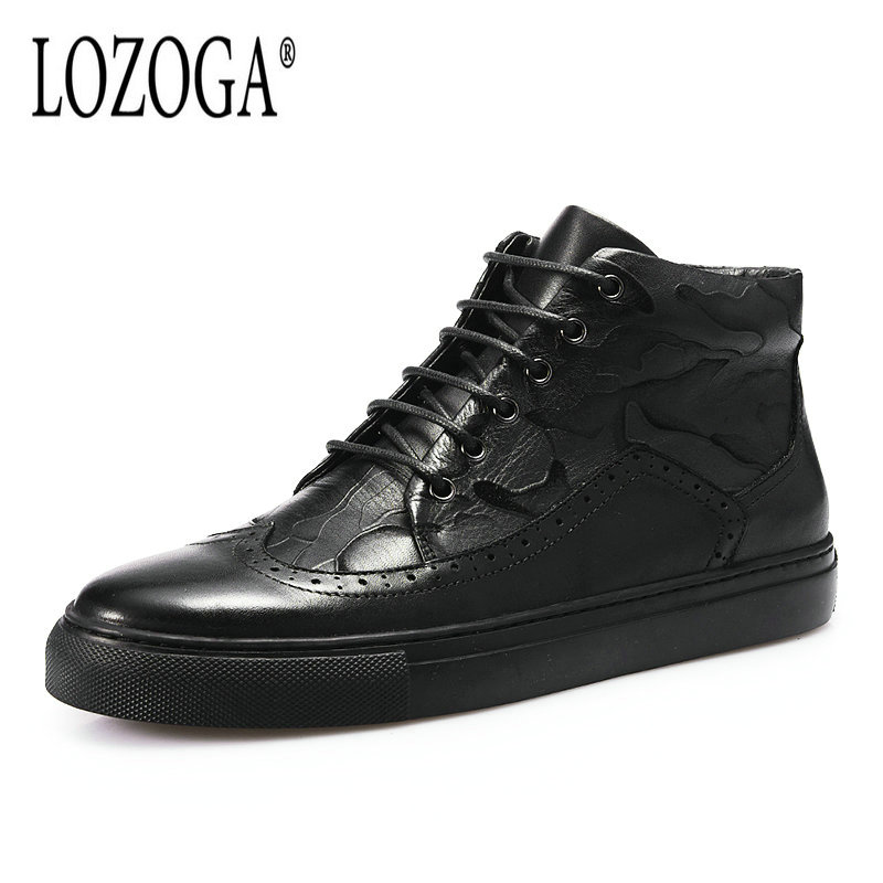LOZOGA New Style Men Boots 100% Genuine Leather High Quality Brand Black Boots Handmade Luxury Lace-Up Casual Shoes Martin Boots