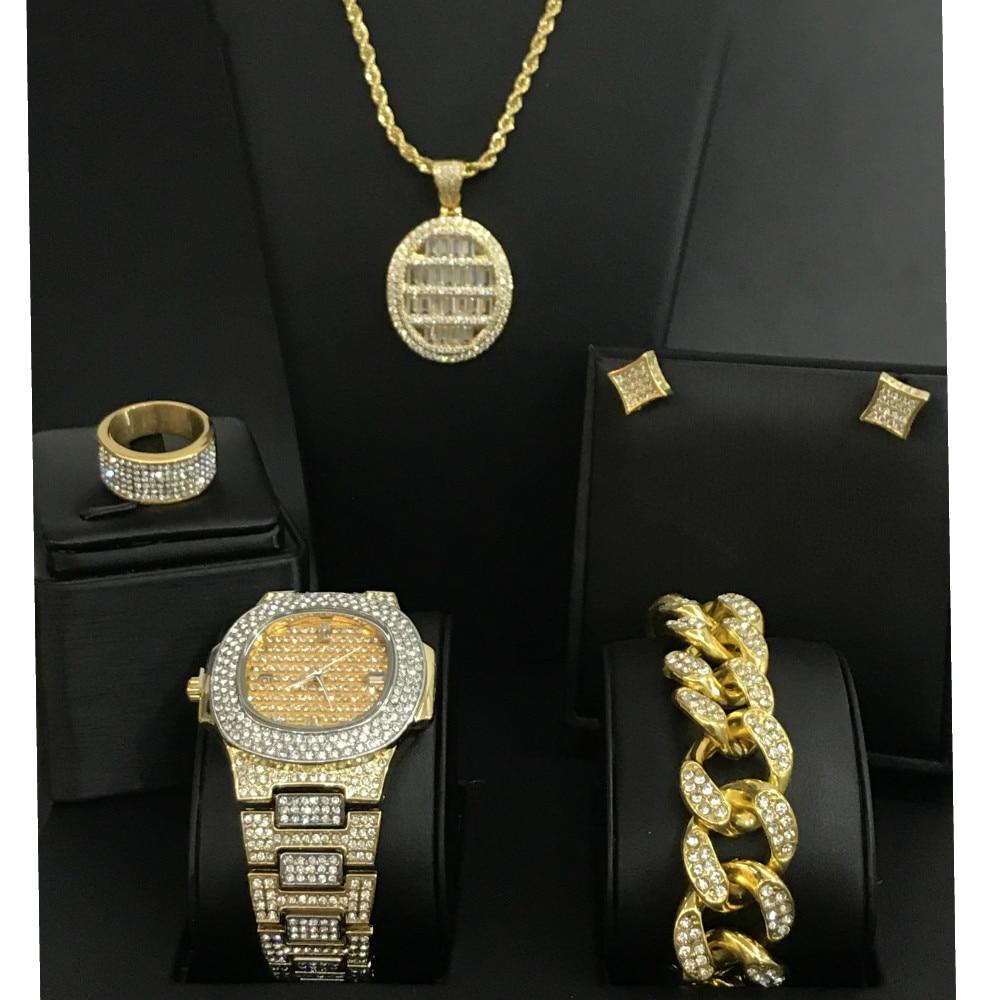 Diamant homme montre glacé cubain Hip Hop montre & collier & Bracelet & boucles d'oreilles & bague ensemble Top marque bijoux diamant pendentif