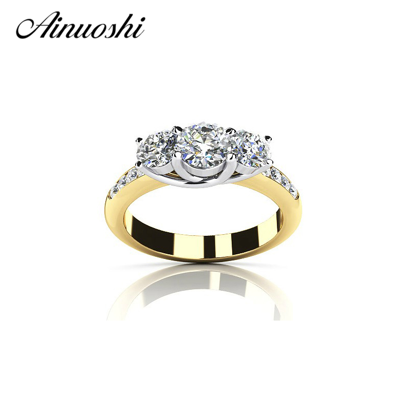 AINOUSHI Fashion Three Stones Yellow Rings 925 Sterling Silver Engagement Lovers Band for Women Fine Bridal Jewelry Ring GiftAINOUSHI Fashion Three Stones Yellow Rings 925 Sterling Silver Engagement Lovers Band for Women Fine Bridal Jewelry Ring Gift